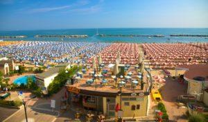 Rimini pláž, Taliansko, dovolenka