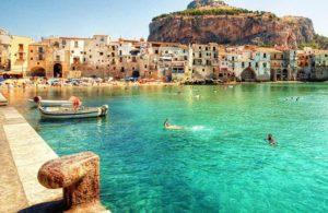 pláž Cefalu, Sicília, dovolenka