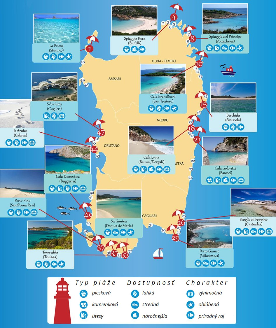 najkrajšie pláže Sardínie, veľký prehľad a mapa pláží, dovolenka Sardínia