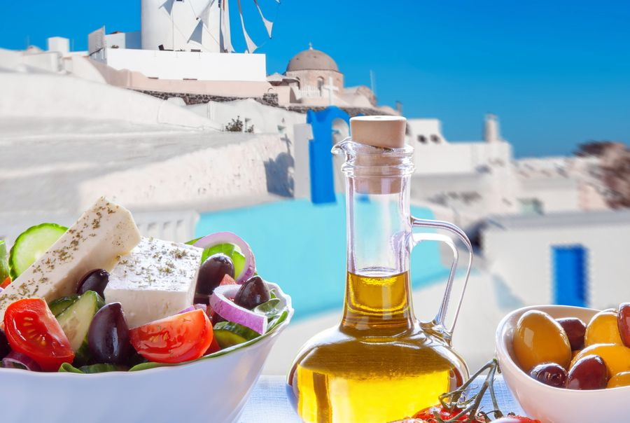 Greek salad in Santorini island, Greece