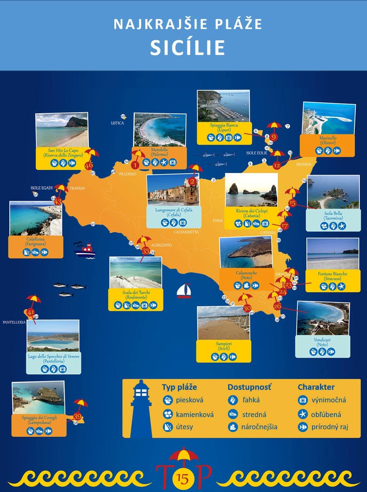najkrajšie pláže Sicílie, 50 najkrajších pláží